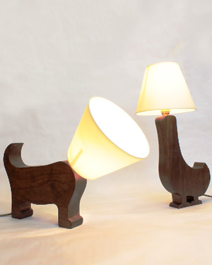 Wood Dog and Duck lamps